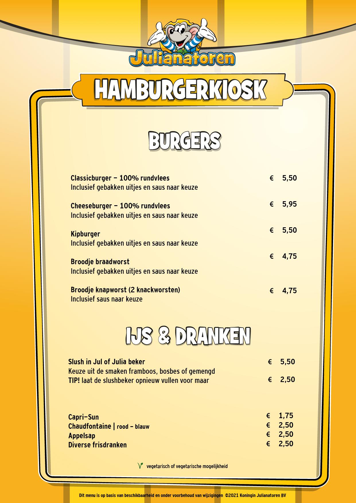 Menu Hamburger kiosk