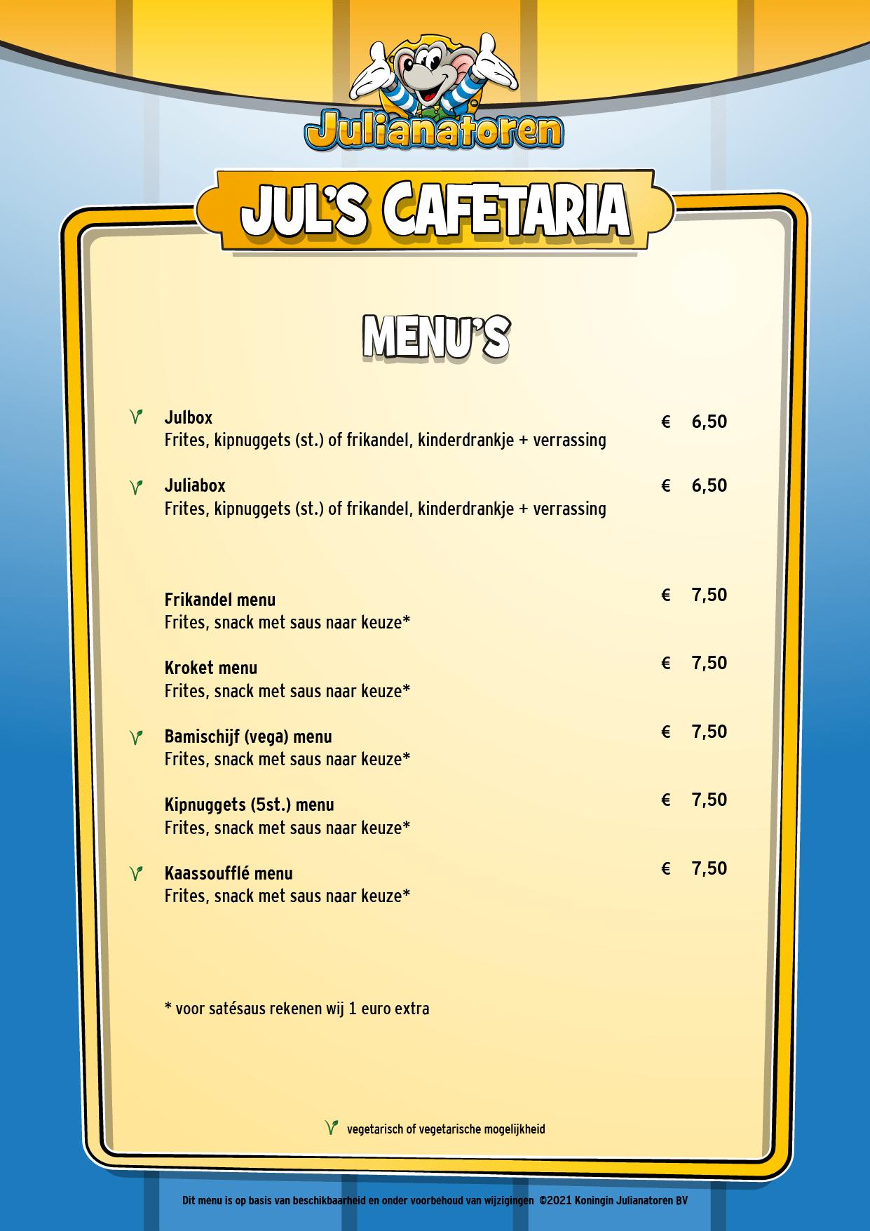 Menu Jul's Cafetaria