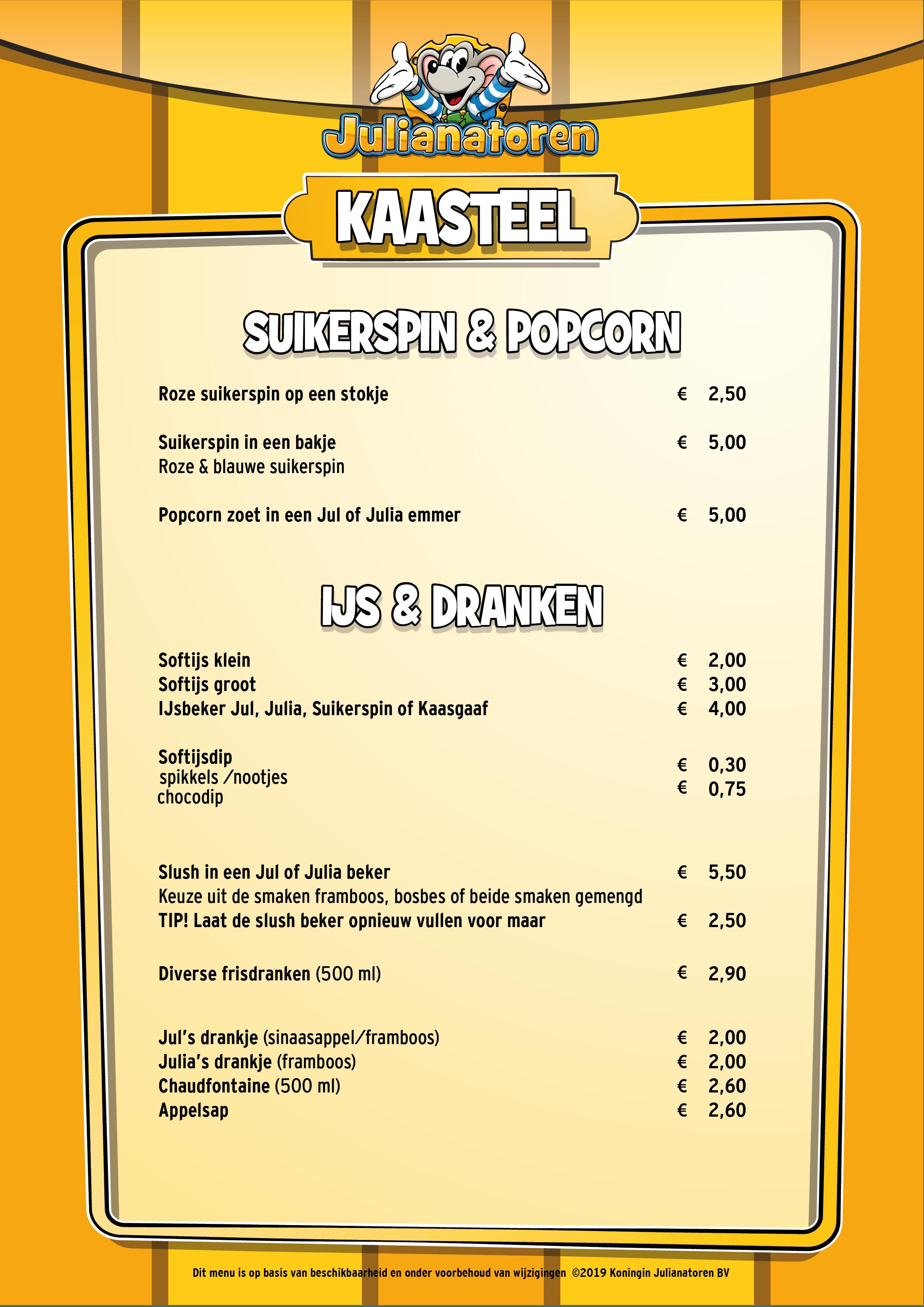 Menu Kaasteel