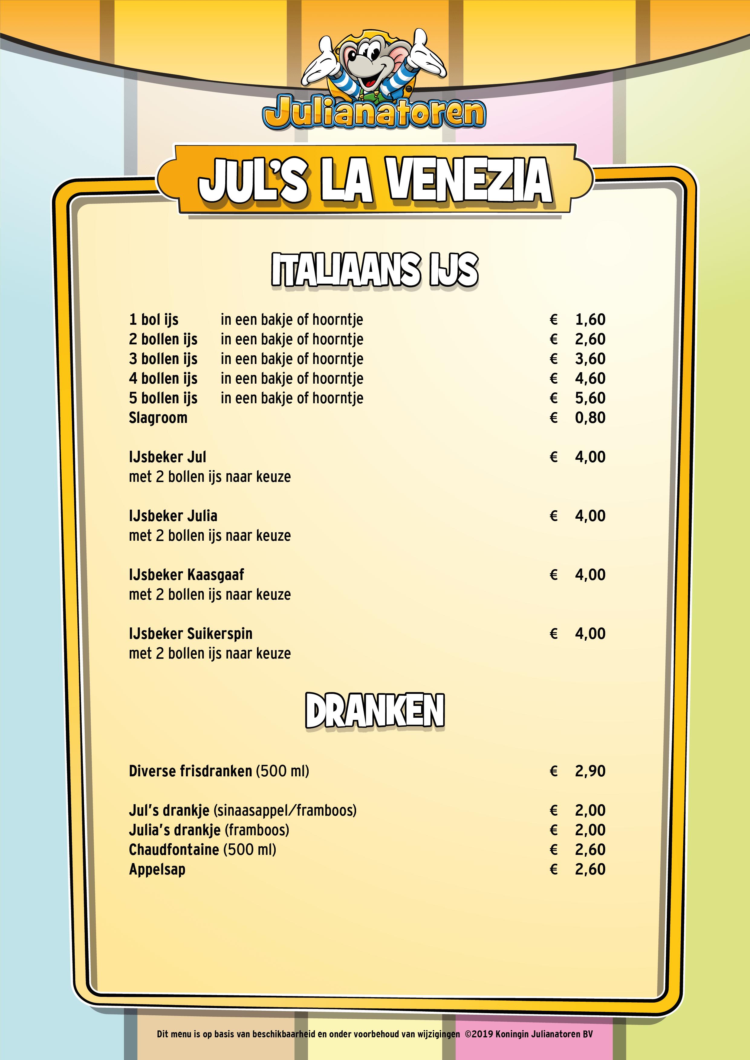 Menu Jul's La Venezia