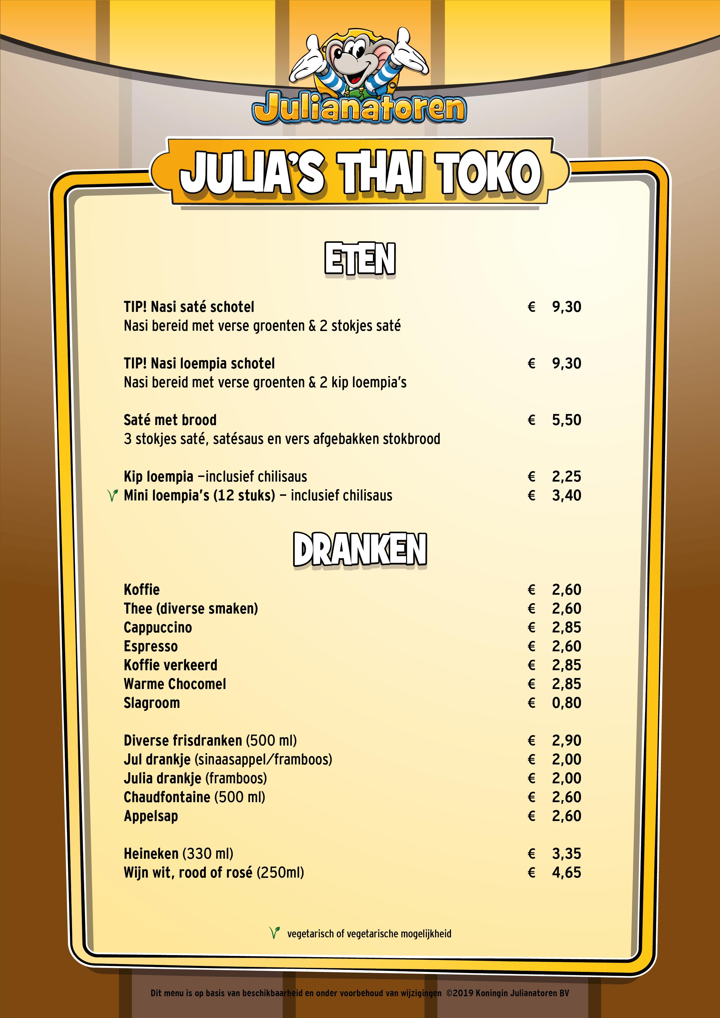 Menu Julia's Thai Toko
